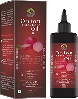 100% Natural Onion Black Seed Hair Oil (8.45 fl oz / 250 ml) I Supports long, lustrous & shiny hair I No mineral