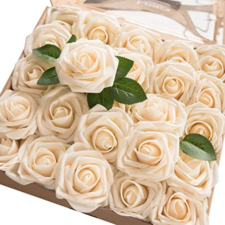 Fake  Magnolias Cream Magnolias Artificial Roses Artificial Roses Wreath Decor Cream floral Arrangements 7 Stems Cream Wedding Flowers