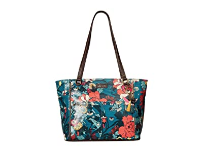 Sakroots Artist Circle Medium Satchel (Teal Flower Power) Tote Handbags