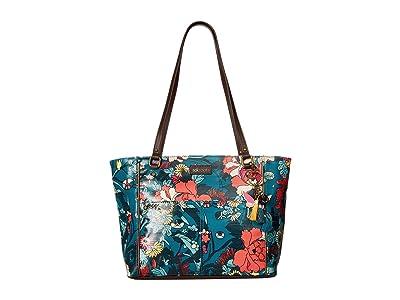 Sakroots Artist Circle Medium Satchel (Teal Flower Power) Tote Handbags
