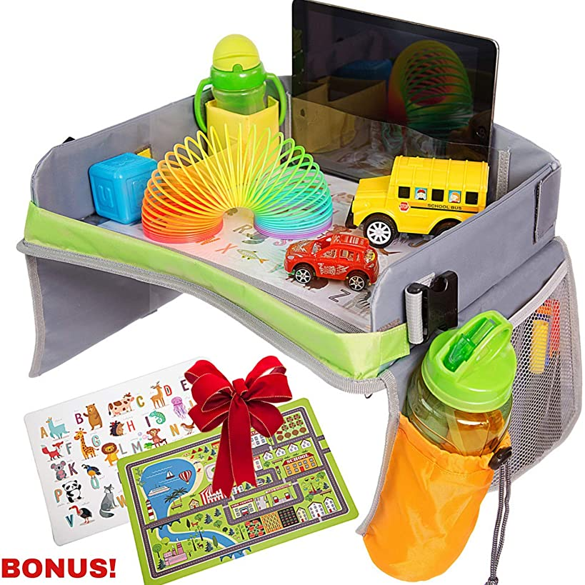 Bulabee Kids Travel Tray for Car Seat, Perfect Toddler Activity Play Organizer for Toys & Games, Holds iPad or Tablet, Snack Tray, Dry Erase Top, Sturdy, Waterproof, Portable, Road Trip Essential