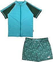 SwimZip Boys UPF 50+ Short Sleeve Rash Guard Swim Trunk Set (Multiple Colors)