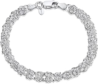 Amberta - Pulsera Bizantina para Mujer en Plata de Ley 925