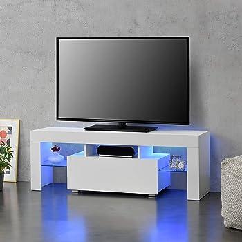 en.casa] Mesa de Tele con LED 130 x 35 x 45 cm Cómoda Mueble de salón para TV con Estantes de Vidrio y con Cajón Almacenamiento Blanco: Amazon.es: Hogar
