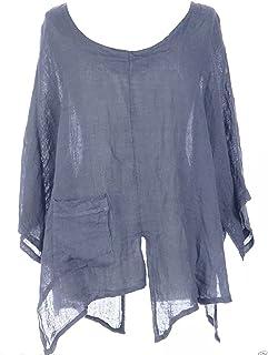 882bd9b5986f7 TEXTURE Ladies Womens Italian Lagenlook V Cutout Hem Batwing Linen Tunic Top  Blouse One Size Plus