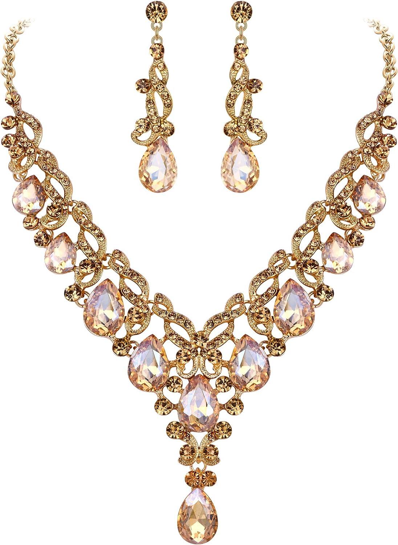 EVER FAITH Women's Crystal Elegant Floral Vine Wedding Teardrop Necklace Earrings Set Brown Gold-Tone
