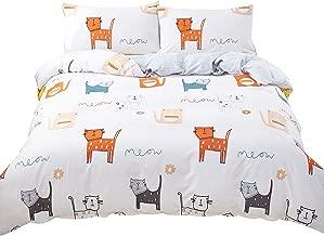 SAIWER Kids Duvet Cover Sets, 100% Cotton Bedding Sets, Cat Cartoon Pattern,Children Teens Boys, 1 Duvet Cover 2 Pillowcases - Queen