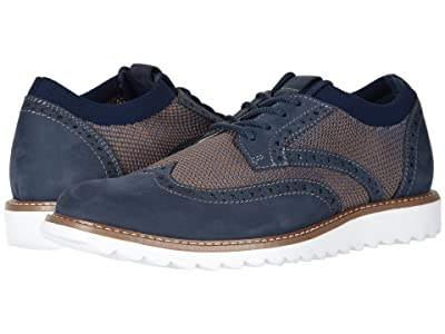 Dockers Hawking Knit/Leather Smart Series Dress Casual Wingtip Oxford with NeverWet (Navy/Tan Knit/Nubuck) Men