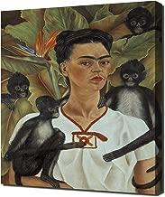 Lilarama Frida Kahlo - Self Portrait with Monkeys Framed Canvas Art Print Reproduction