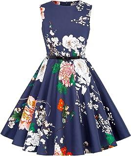 Niña Vestido Vintage Estampado de Algodón sin Mangas para Fiesta Elegante Retro