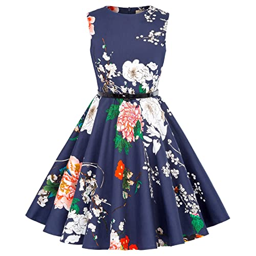 f5df57f6fa Kate Kasin Girls Sleeveless Vintage Print Swing Party Dresses 6-15 Years