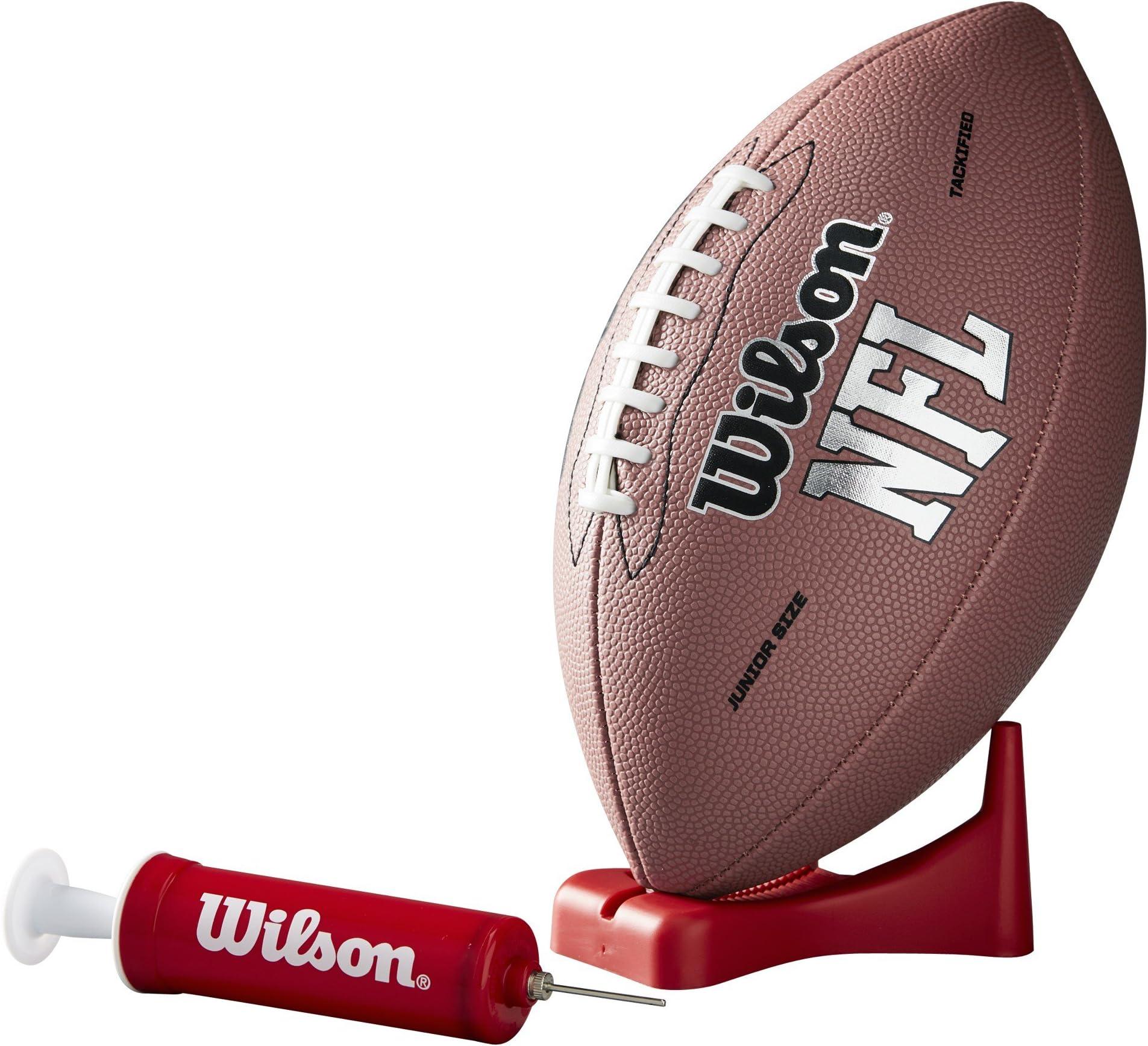 Wilson NFL MVP Junior Football with Pump and Tee, Brown Version