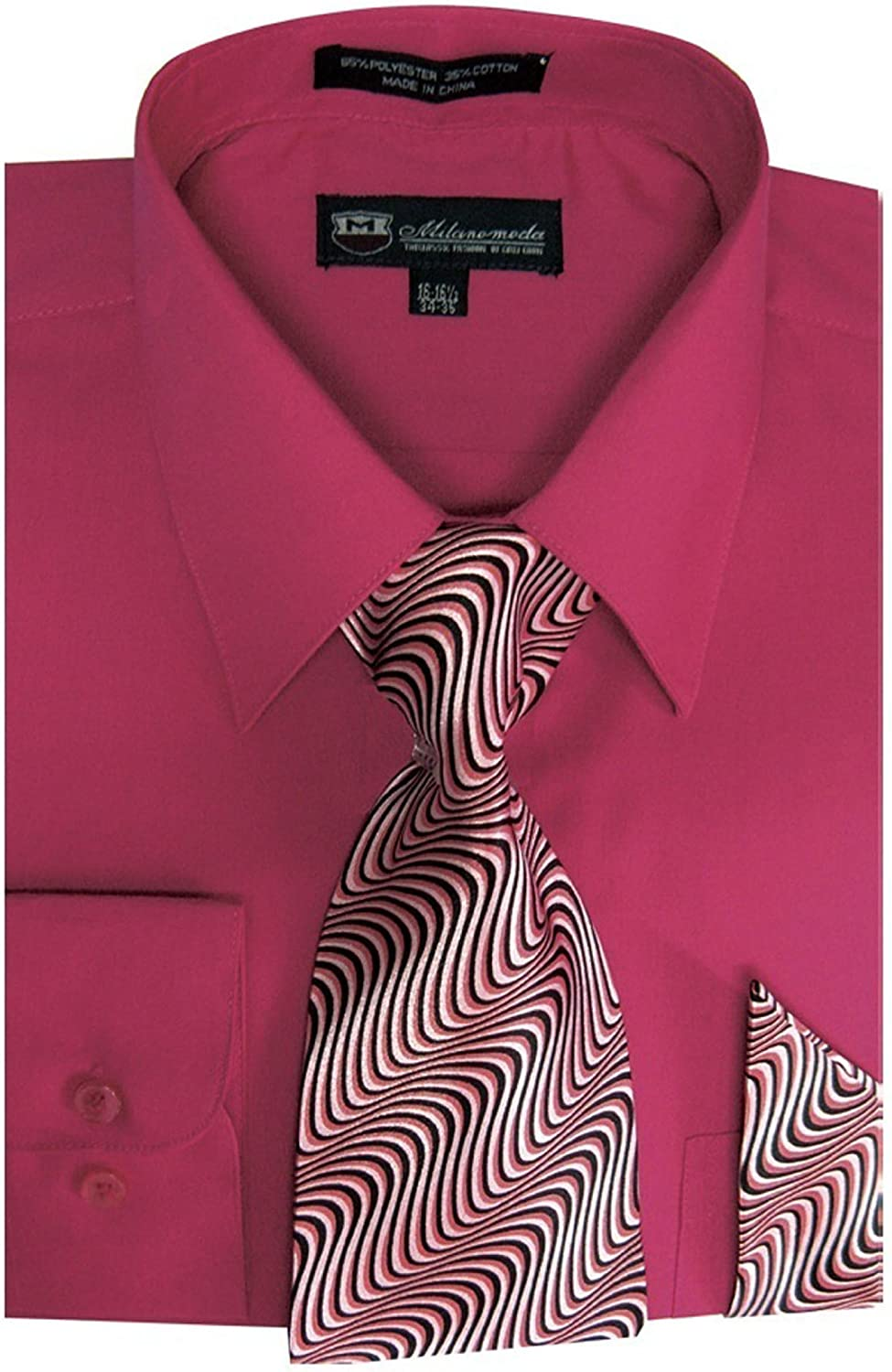 TDC Collection Milano Moda Men's Basic Dress Shirt With Matching Tie And Handkerchief 18-18 1/2 36-37 Fushion