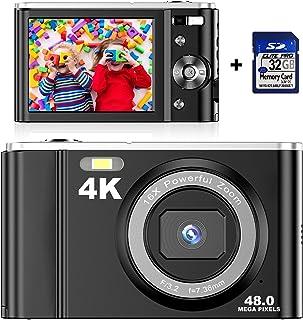 Digitalkamera 4K mit 32 GB SD Karte Mini-Videokamera 48 MP 2,8-Zoll-LCD-Akku Wiederaufladbare Taschenkamera für Studenten mit 16-fachem Digitalzoom Vlogging-Kamera