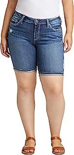 Silver Jeans Co. Women's Plus Size Suki Curvy Fit Mid Rise Bermuda Shorts