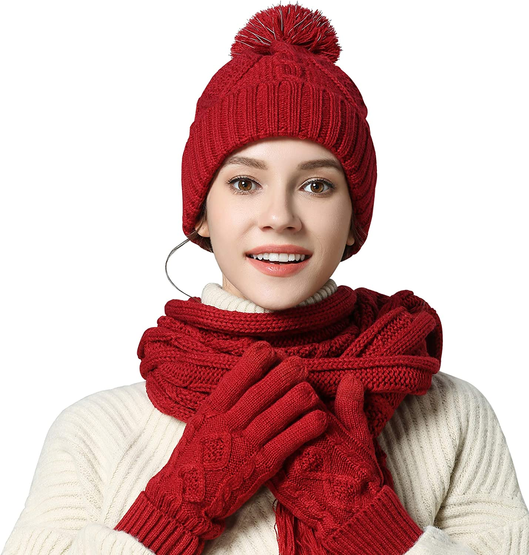 Scarf Hat Gloves Set Women Warm Knit Winter Gift Pom Beanie Touch Screen 3 Pcs