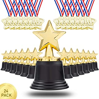 Favonir™ 12 Set Of Trophies & Pack Of 12 Medals –Star Trophy Awards And Medal For Kids & Adults. Reward Prizes For Parties, Celebration, And Sports Events in School, Home, And Office. Prize Favors