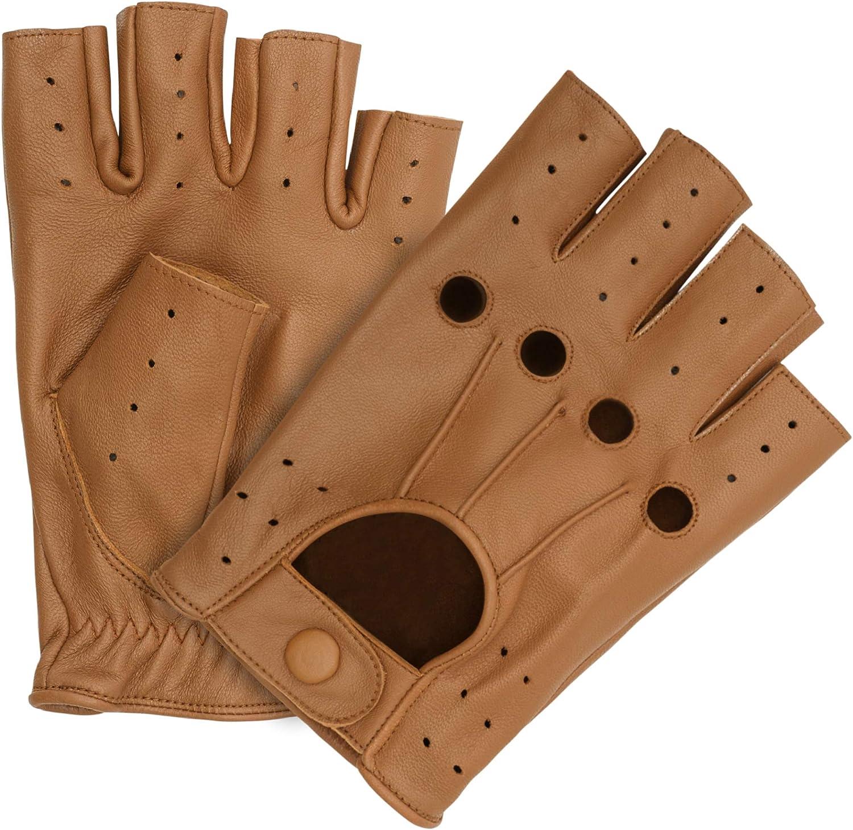 HOMBURY Leather Driving & Dressing Gloves for Men and Women-Fingerless Gloves