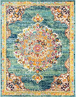 """Tomales 7' 10"""" x 10' 3"""" Moroccan Bohemian Updated Traditional - Oriental Area Rug - Rectangle - Polypropylene - Teal, Nav..."""