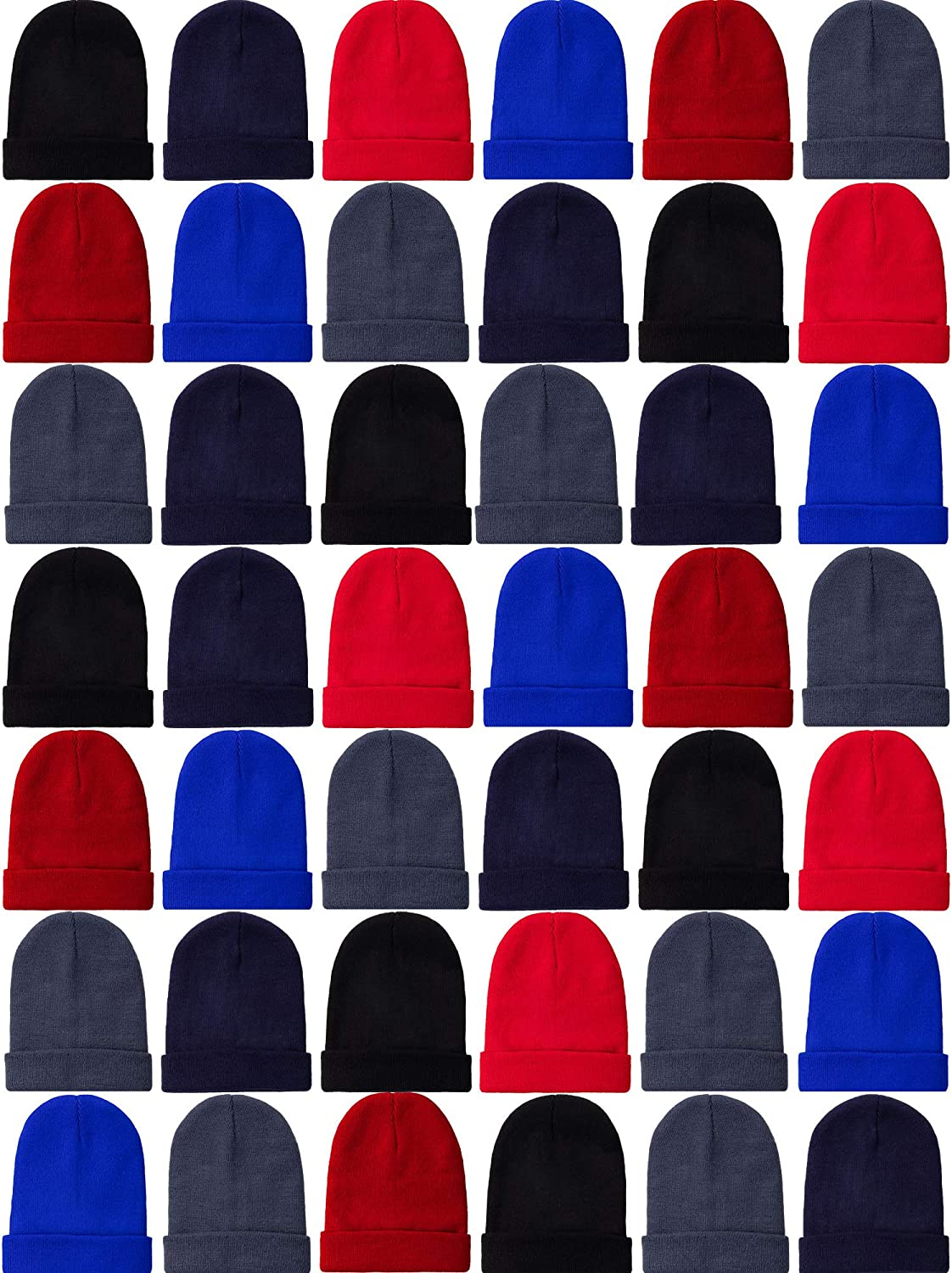 SATINIOR 60 Pack Kids Winter Beanies Knit Cold Weather Warm Cap Skull Hat Ears Covers (Black, Maroon, Navy Blue, Sapphire Blue, Red, Grey)