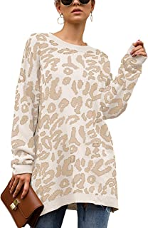 ECOWISH Women's Oversized Leopard Print Sweater Long Sleeve Casual Camouflage Print Knitted Jumper Pullover Sweatshirts Tops