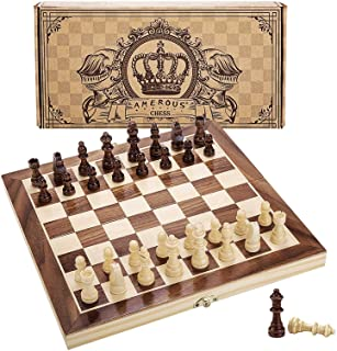 """Amerous 12"""" x 12"""" Magnetic Wooden Chess Set for Adults and Kids, 2 Bonus Extra Queens, Folding Board with Storage Slots, H..."""