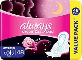 Always Dreamzz Pad Cotton Soft Maxi Thick, Night Long Sanitary Pads With Wings, 48 Count