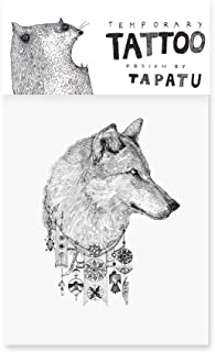 Tatuering med varg - Tillfälliga tatueringar - Klistermärken för tatuering - Kvalitetsklistermärken i svart - Vattentät kr...