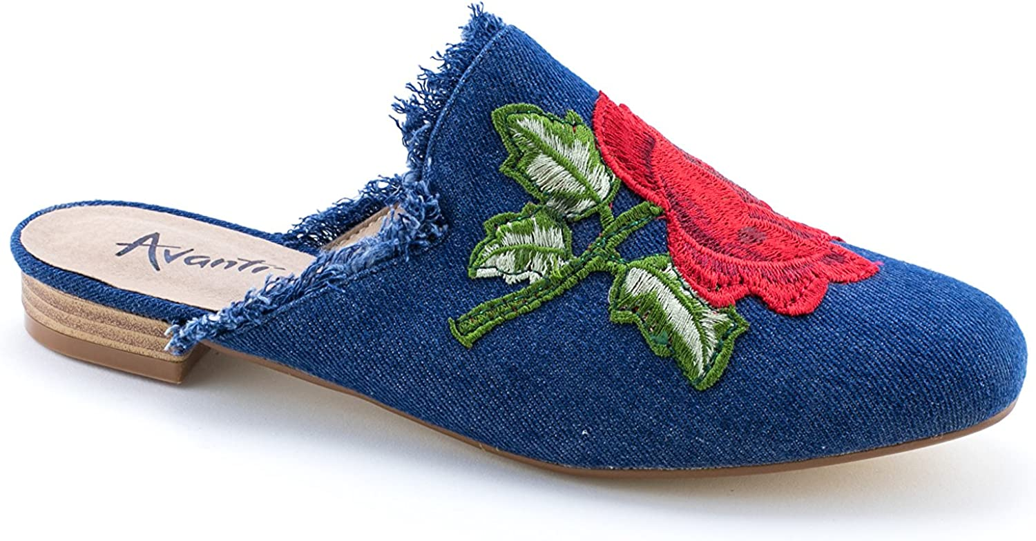 Avanti Roze Womens Sandal - Denim with Embroidered pink