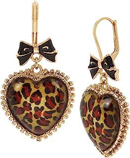 Leopard Heart Drop Earrings