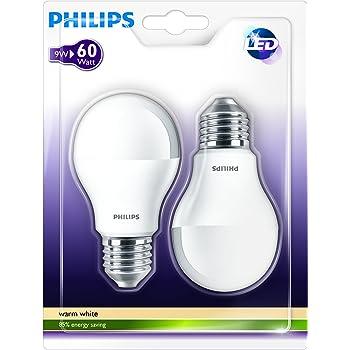 Philips Pack de 2 bombillas LED estándar mate E27, 9.5 W, 2 ...