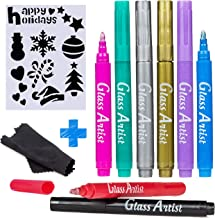 ORIGINAL Glass Artist Wine Glass Markers - Pack of 8 + Drawing Stencil, Premium Metallic Drink Markers, Wine Glass Charms, Erasable and Safe - Wine Accessories Gift