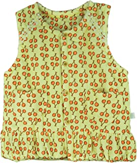 LinMeng Baby Toddler Girls Warm Vest Infant Padded Waistcoat Jacket Sleeveless Cherry Print (Pink,Yellow,6-30Months)