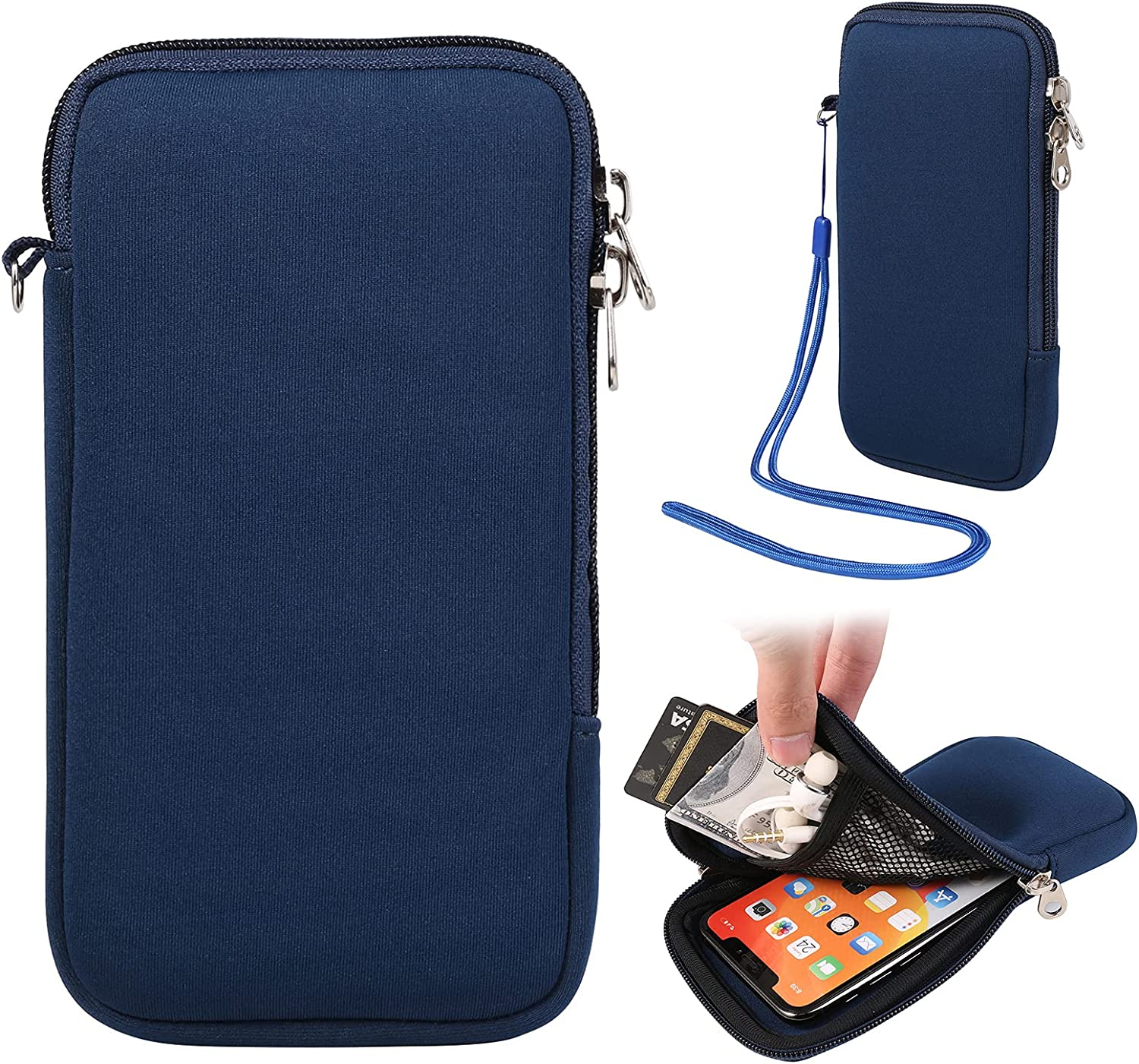 Zipper Phone Sleeve Pouch w/Neck Lanyard Compatible for Apple iPhone 12 Pro Max/Huawei Mate 40 Pro / P40 Pro/LG W41 Plus/Motorola G10 G30 / G Power Play/Xiaomi Mi 11 / Redmi Note 9T (Blue)