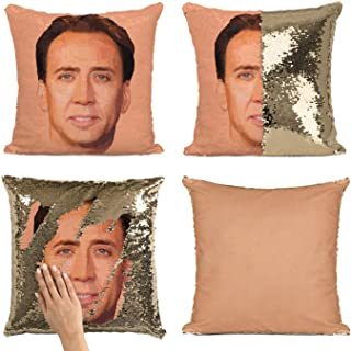 BadBananas Nick (Nicolas) Cage Face Mermaid Reversible Flip Sequin Throw Pillowcase - Funny Gag Gift Pillow Cover