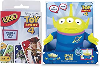 Green Alien Disney Toy Story Space Figure Talking Pizza Planet Critter Bundled with Uno Card Matching Game Cartoon Movie Character Theme Deck 2-Items