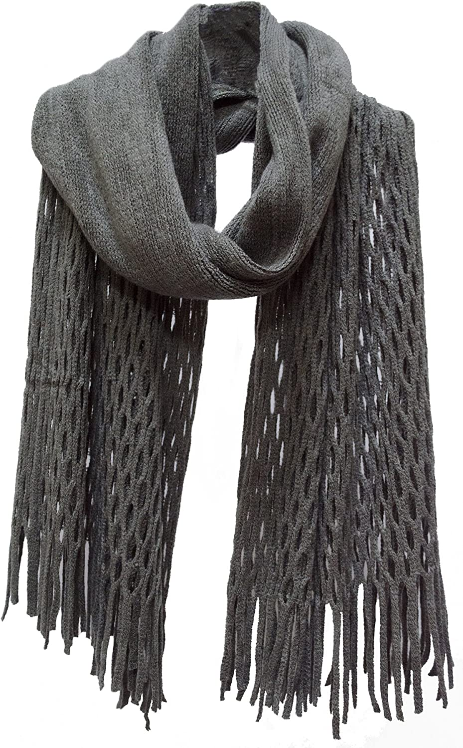 Honeycomb Fringed Knit Scarf Grey