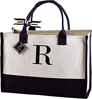 Mud Pie R-Initial Canvas Tote