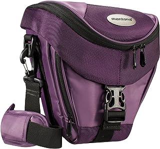 Mantona Premium - Funda para cámara Reflex (Correa para Hombro Cierre de Cremallera y Clip) Color Lila