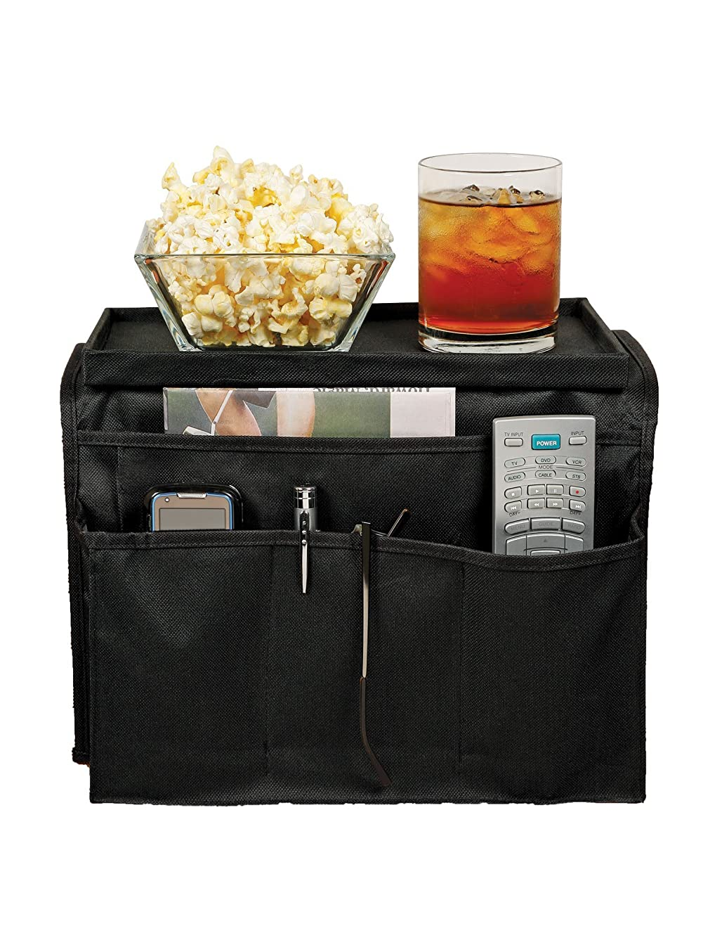 TV Remote Control Organizer Holder Caddy - Couch Armchair Caddy for Recliner as Arm Chair Organizer with Pockets for Snacks Glasses Smartphone Magazines Ipad Fits Arms 5 to 6 Inches Wide