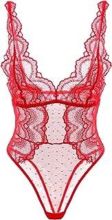 Garmol Women Sexy Lace Bodysuit Dobby Mesh Body Teddy Lingerie