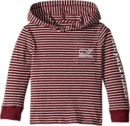 Long Sleeve Heather Stripe Whale Hoodie Pocket Tee (Toddler/Little Kids/Big Kids)