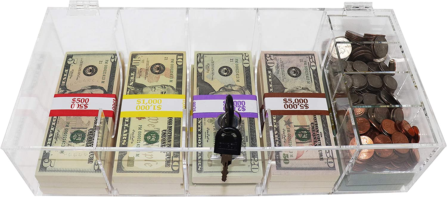 Clear Locking Max 55% OFF Currency Tray 5 Organizer Attention brand Money Cash Compartment