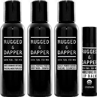 RUGGED & DAPPER Core Regimen Travel Kit, Includes Age Defense Facial Moisturizer, Daily Scrub Face Wash, Body Wash plus Shampoo and Organic Lip Balm