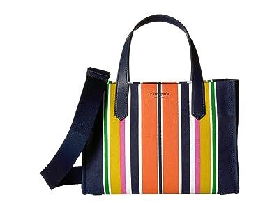 Kate Spade New York Kitt Stripe Medium Satchel (Parisian Navy Multi) Handbags