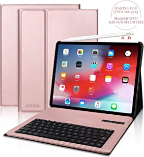 iPad Pro 12.9 Keyboard Case for Pro 12.9 Inch 2018(3rd Gen), [Support Pencil Charging] Detachable Wireless Keyboard Stand Folio Cover, and Strong Magnetic Stand Folio Case, Auto Wake/Sleep, Rose Gold