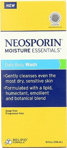 Neosporin Essentials Moisture Body Wash, Soap Free, Fragrance Free, 10 Ounce