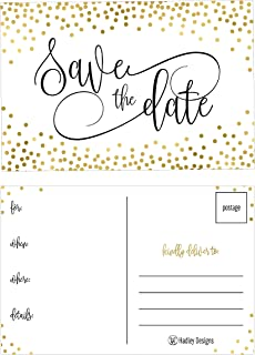 25 Elegant Gold Dots Save The Date Cards For Wedding, Engagement, Anniversary, Baby Shower, Birthday Party, Save The Dates Postcard Invitations Simple Black and White Blank Event Announcements …