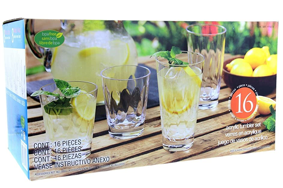 16 Piece Clear Acrylic Tumbler Set - 14oz & 21oz Tumblers - Suitable for Indoors & Outdoors