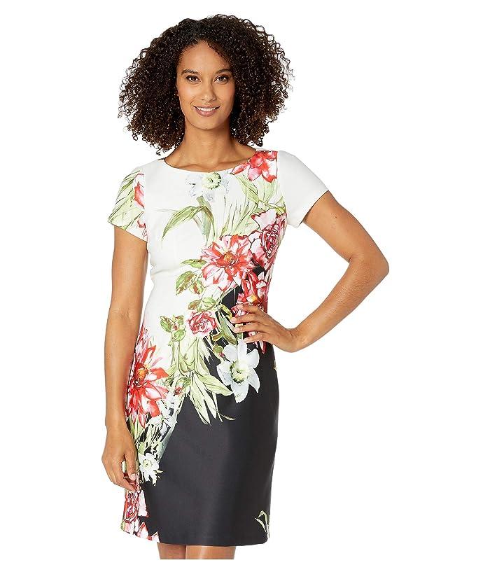 Adrianna Papell Cap Sleeve Printed Scuba A-Line Dress (Black/Ivory Multi) Women